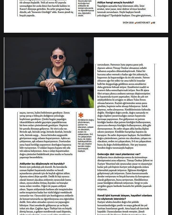 Tümay Özokur röportajı, Kariyer Dergisi Ekim sayısında..